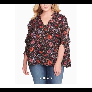 Jessica Simpson Floral Top With Slit Shoulder NWT
